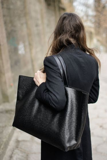 The perfect oversized black leather bag.