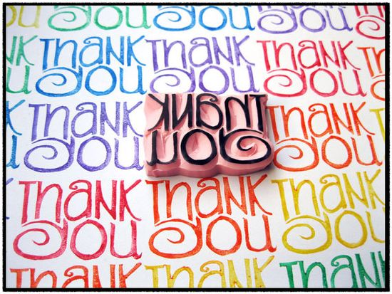 Thank You Hand Carved Rubber Stamp