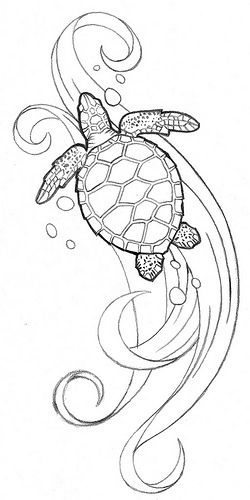 Sea turtle tattoo idea. Only with four turtles! ?