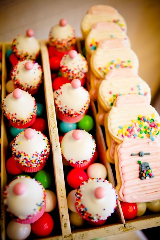 Gumball machine cake pops and cookies at a bubblegum themed 8th Birthday Party with Lots of REALLY CUTE Ideas via Kara's Party Ideas