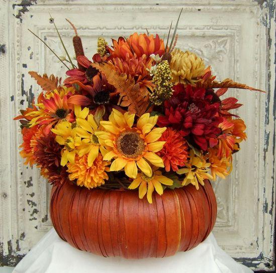 Fall Floral Arrangement - Thanksgiving Centerpiece - Pumpkin Floral Arrangement - Fall Centerpiece - Table Centerpiece. $48.00, via Etsy.