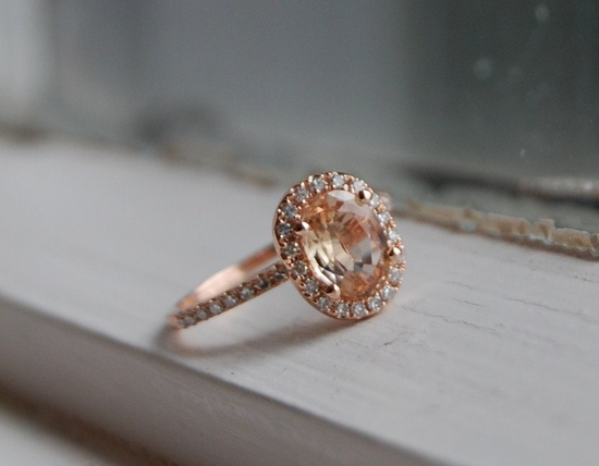 Oval champagne peach sapphire diamond ring 14k rose gold. Want as a wedding ring!!