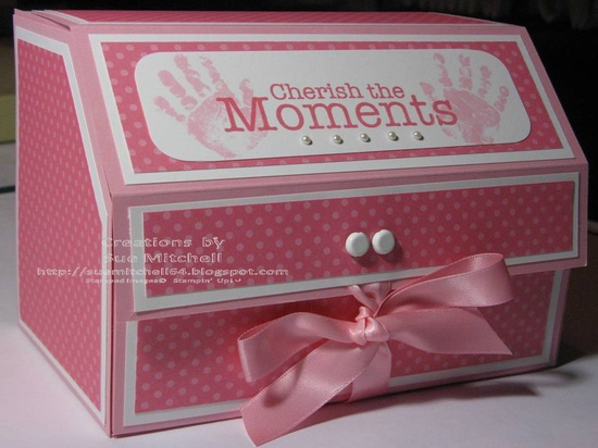 Stampin' Up! Australia - Sue Mitchell: 3D Card Chest/Gift Box - Very Sturdy! One for Baby Girl & One for a Pirate Boy