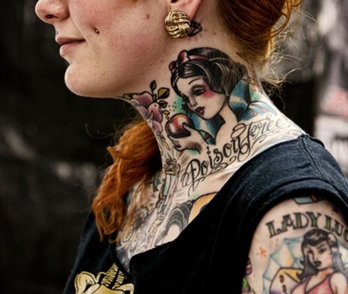 Tattooed lady - Snow White tattoo on the neck and more on her hand and chest. #ink #inked #tattoo #tattoos