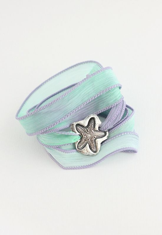 Starfish Silk Ribbon Bracelet, Beach Jewelry Sea Life, Rustic Fine Silver Bracelet Eco Friendly