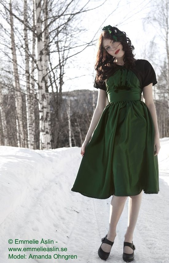 Green dress with black shrug