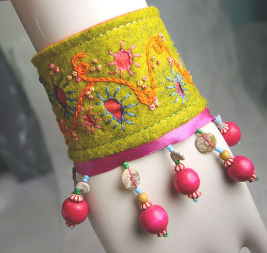 Carnival Dreams Hand Embroidered wrist cuff by Waterrose on Etsy, $82.00