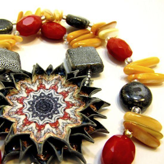 Pendant Necklace Natural Stone Jewelry Bib by JewelryByJolanta, $60.00