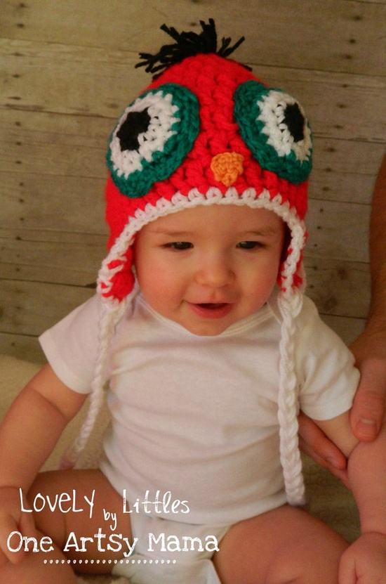 Red Owl Crocheted Hat with Tassels