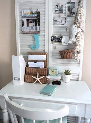 "Clever!  Using old shutters as a backdrop to a desk... Imagine all the items that can be ""pinned"" to it!  Cute idea when I make my dream home!"