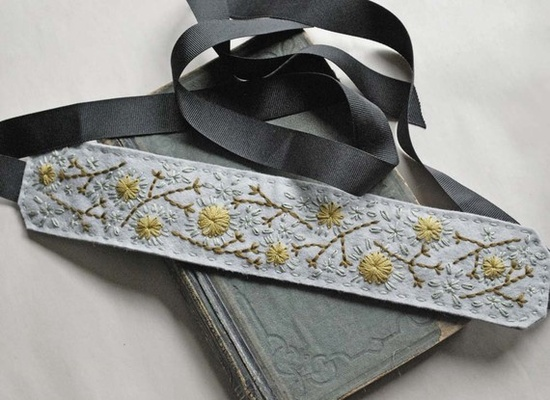 Hand Embroidered Felt Headband in Pale Grey with by lovemaude, $24.00