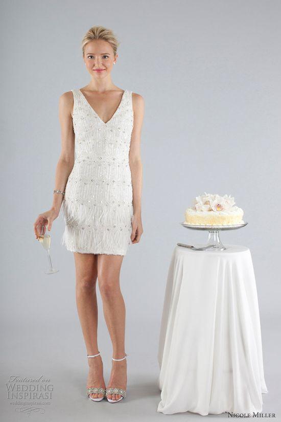 Short beaded reception dress. Nicole Miller Fall 2013.