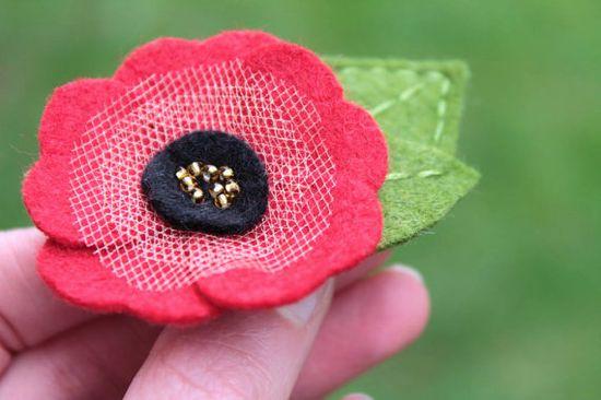 Poppy Flower hair clip
