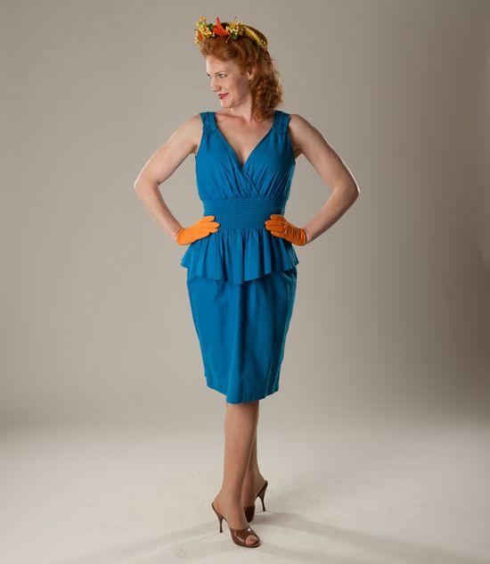 80s Does 40s Peplum Dress #vintage #retro #1980s #1940s #peplum #dress @Etsy