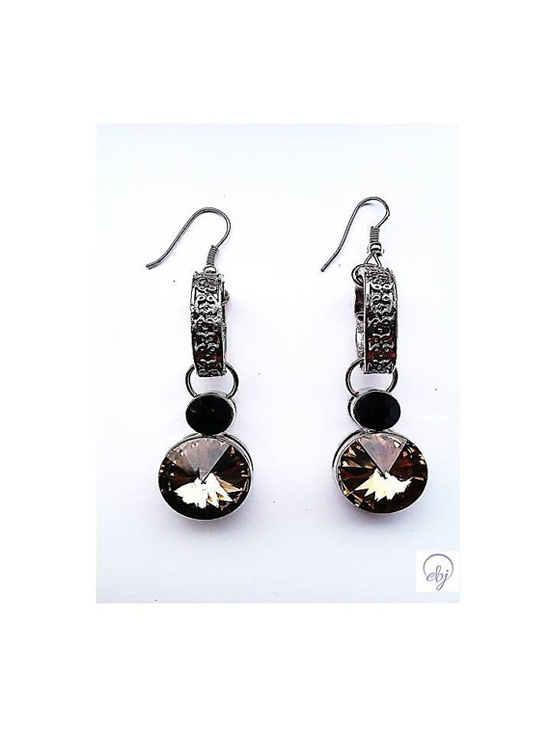Light Brown and Black Crystal Drop Earrings - Upcycle Jewellery - £30.00