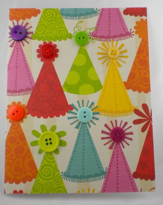 Cute card idea! Embellished scrapbook paper.