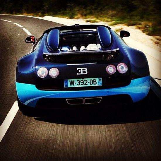 ? Blue car Bugatti Veyron