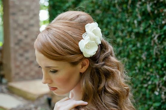 romantic wedding hair with flowers