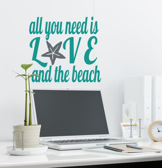 All You Need is Love and the Beach decor Vinyl Wall Decal Sticker words with Starfish, nautical home decor, shabby chic. $25.00, via Etsy.