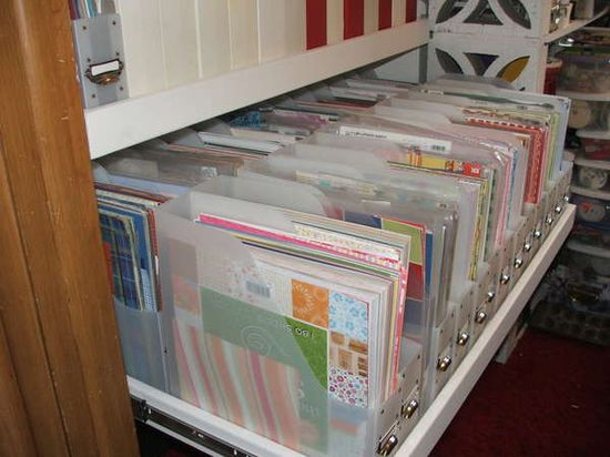 Scrapbook Paper storage - Pull out shelves installed in a closet - there are two pull-out shelves.
