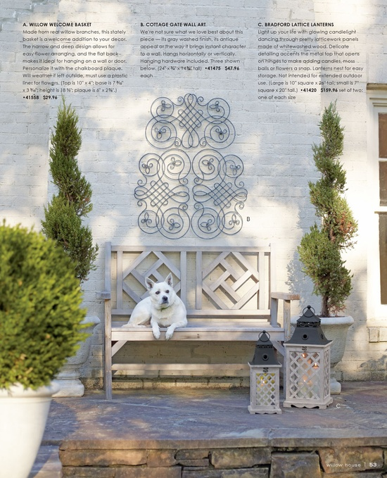 Bradford Lattice Lanterns and LOVE the Cotage Gate Wall Art!!  Love outdoor art!
