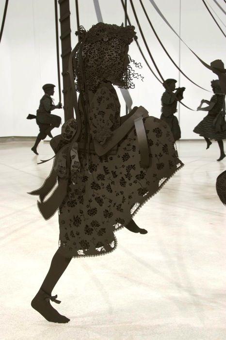 Maibaum (detail) ::    2009 -   Black paper, black foam core, hardware  Life-size (pole is 18 feet tall)