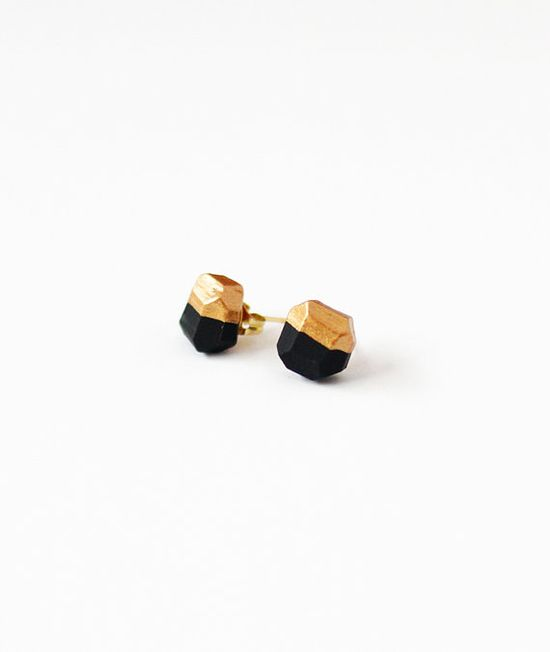 black & copper dipped geo earrings