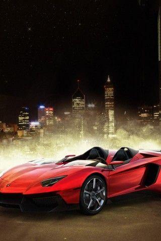Lamborghini Aventador J roadster, Red, Car, Lamborghini, Supercar