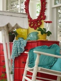 Teal, Red, Yellow color scheme for my kitchen and living room. Really liking it all together....