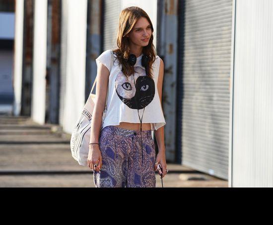 Printed tee and printed lounge pants. Jak & Jils Tommy Ton Shoots Fashion Week Australia F/W 2013