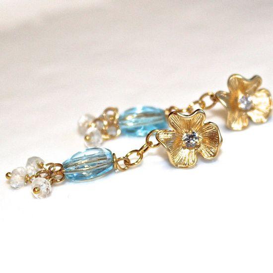 Swiss Blue Topaz Earrings Topaz Jewelry Gold Flower by FizzCandy #flowers #earrings #topaz #chandelier #fizzcandy