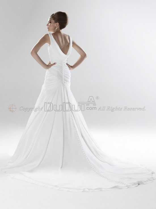 Mermaid/Trumpet Chiffon Straps Dropped Buttons Sweep Wedding Dresses With Beading, Wedding Dresses, wedding dresses, Wedding Dress