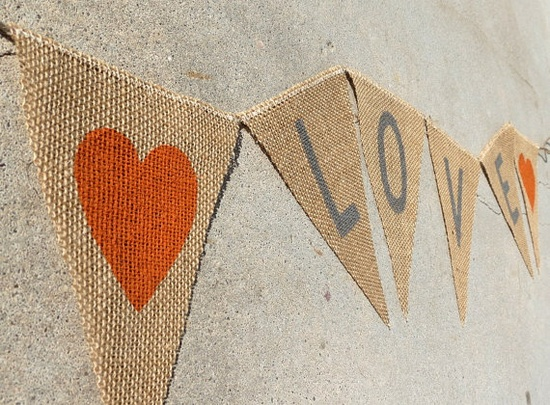 Burlap Wedding Banner in Burnt Orange and Gray / by nhayesdesigns, $22.00
