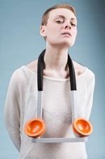 Sally Morrison  'Handlebar Oranges' Powdercoated Aluminium, Painted Breezeblock, Neoprene -  at New Designers 2013 (Edinburgh College of Art)