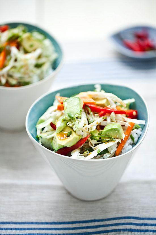 Vegetarian avocado sushi bowls