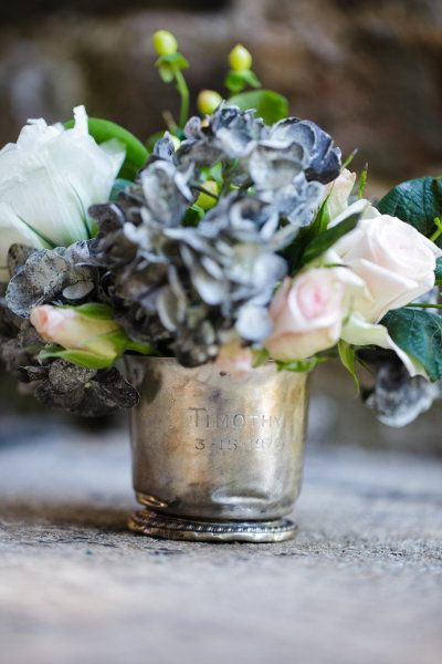 Charming french look silver flower arrangement