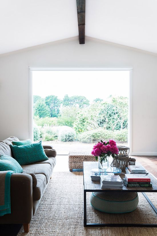 open and airy with beautiful pops of greeny-blue and pink