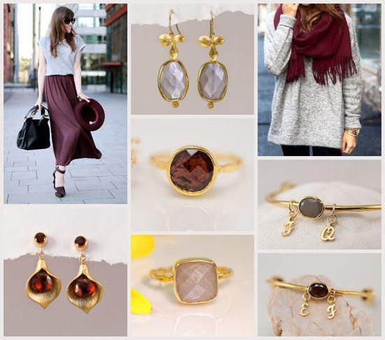 Burgundy & Grey. #gemstones #delezhen #etsy #handmade #jewelry #bridal #fallFashion
