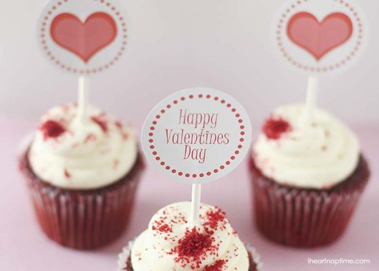 Valentine cupcake toppers {free download}