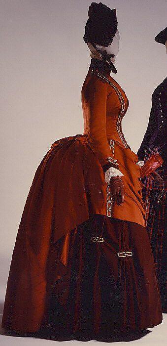 Dress  Date: 1887 Culture: American Medium: silk - big a** bustle!