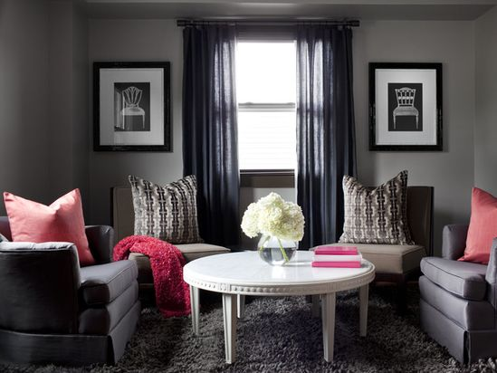 Charcoal Gray w/ Pops of Pink! See more color-infused living rooms from HGTV --> www.hgtv.com/...