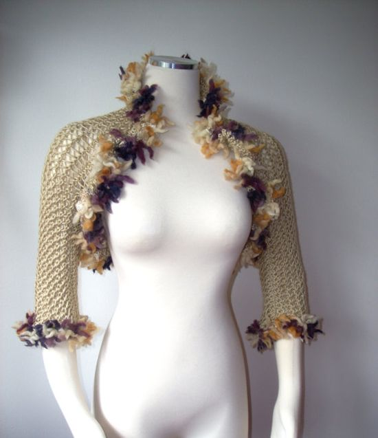 Love this! wedding shrug, scarf, shawl, bej knitted hand made, gift for mom girl on Etsy, $45.00