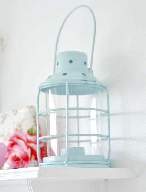 Enamel blue wire lantern