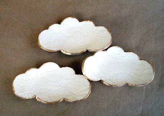 THREE Lace Ceramic Cloud Ring Dishes by dgordon on Etsy, $12.00