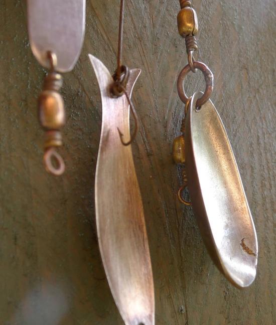 vintage metal fishing lures  handmade  by nestingplacemarket, $14.00