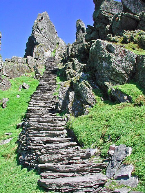 Rock steps in the country of Ireland.  Dont' know the location.  Go to www.YourTravelVid... or just click on photo for home videos and much more on sites like this.