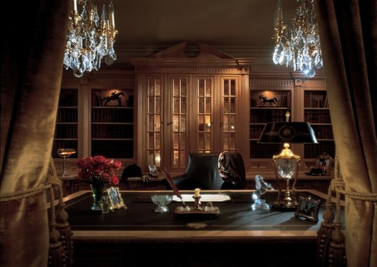 Fabulous Classic Office for Best Office Look: Awesome Classic Office Design Crystal Chandliers Wooden Style Furniture Brown Curtain ~ apcconcept.com Office Designs Inspiration