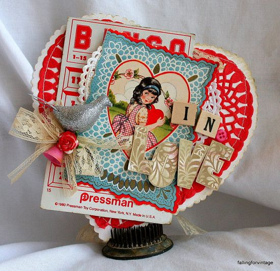 vintage valentine with bingo card
