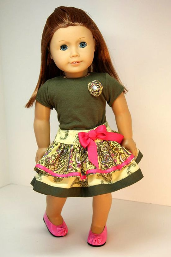 American Girl Doll ClothesTiered Skirt and Top by sewurbandesigns, $18.00