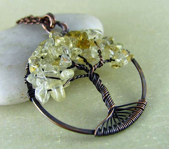 Tree Of Life Necklace Wire Wrapped Jewelry Copper by PolymerPlayin